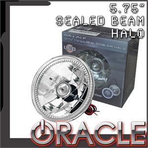 Pre-Installed White Halo Lights Sealed Beam 5.75
