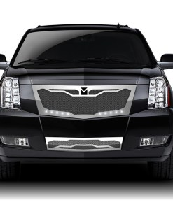 Macaro Fender Grilles for 2008-2014 Cadillac Escalade fits All models (Triple Chrome finish)