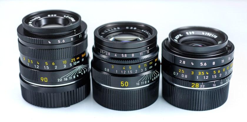 Leica lens trio 90mm macroelmar 50mm summarit 28mm elmarit lenses review