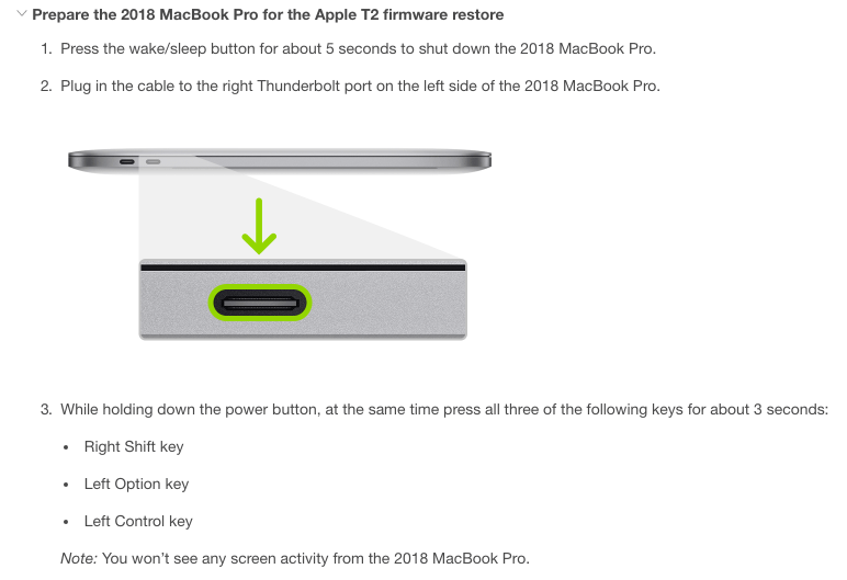MrMacintosh.com - Apple's instructions for booting your T2 MacBook Pro into DFU mode.