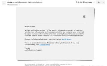 Apple釣魚信件肆虐,請勿開啟「Your apple id has been frozen temporarily」信件