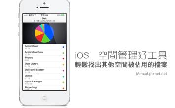 [Cydia for iOS7-iOS10必裝] 找出iOS其它空間被哪些檔案佔用「Disk Pie」