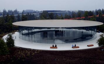 空拍畫面顯示蘋果總部賈伯斯劇院已經完工!準備迎接發表會