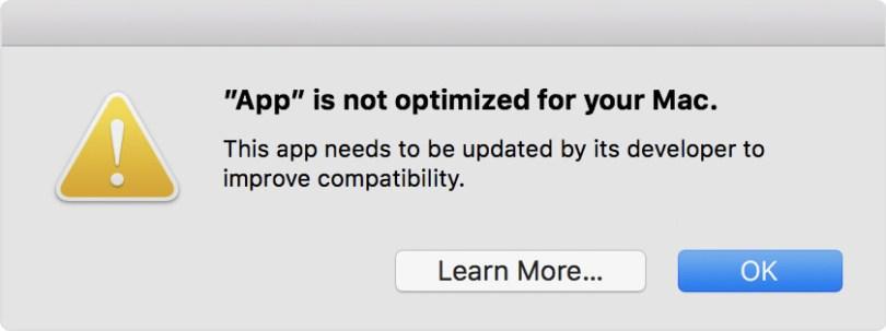 macOS 開始針對32位元應用程式發出警告,預告下一代將全面64位元化