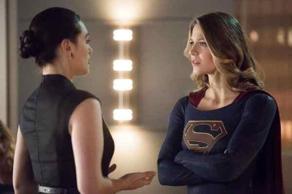"Supergirl -- ""Exodus"" -- Pictured (L-R): Katie McGrath as Lena Luthor and Melissa Benoist as Kara/Supergirl -- Photo: Dean Buscher/The CW"