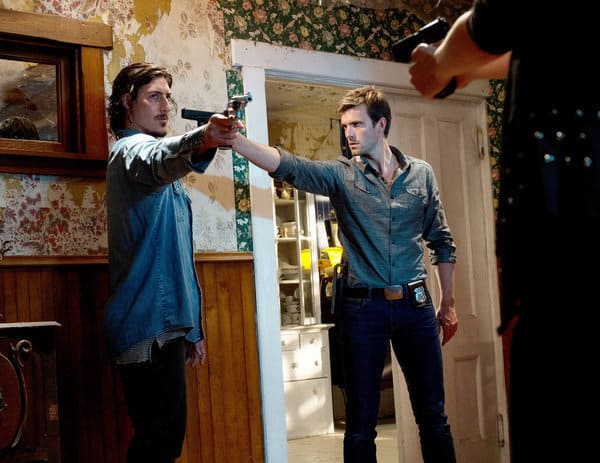 """HAVEN -- """"Real Estate"""" -- Pictured: (l-r) Eric Balfour as Duke Crocker, Lucas Bryant as Nathan Wuornos -- (Photo by: Michael Tompkins/Syfy)"""