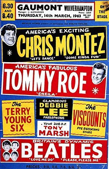 Chris Montez, Tommy Roe, The Beatles, 1963 UK concert poster, Mr. Media Interviews