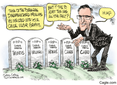 Daryl Cagle cartoon, Garry Trudeau, Charlie Hebdo, Mr. Media Interviews
