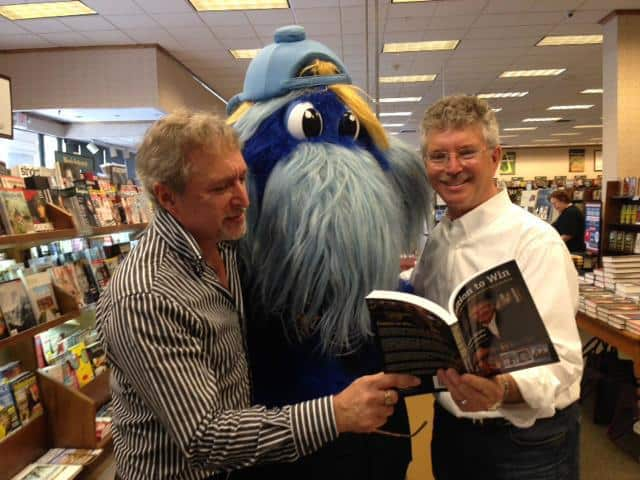 (L-R) Dave Scheiber, Tampa Bay Rays mascot Raymond, Dewayne Staats, Mr. Media Interviews