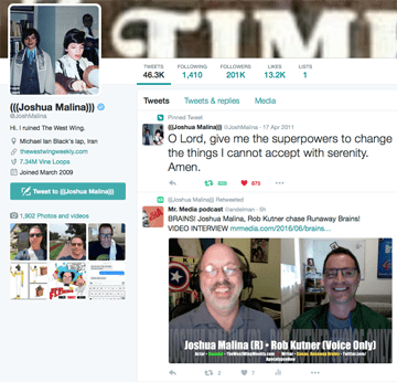 Joshua Malina Twitter Screen Shot, Mr. Media Interviews