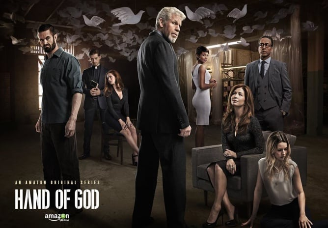 """Hand of God,"" an Amazon original series starring Ron Perlman, Dana Delany, Andre Royo, Garret Dillahunt and Emayatzy Corinealdi, created by Ben Watkins, Mr. Media Interviews"