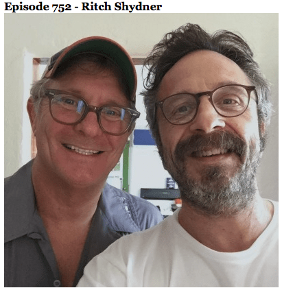 WTF with Marc Maron guest Ritch Shydner, Anthony Bourdain, Kicking Through the Ashes, Mr. Media Books
