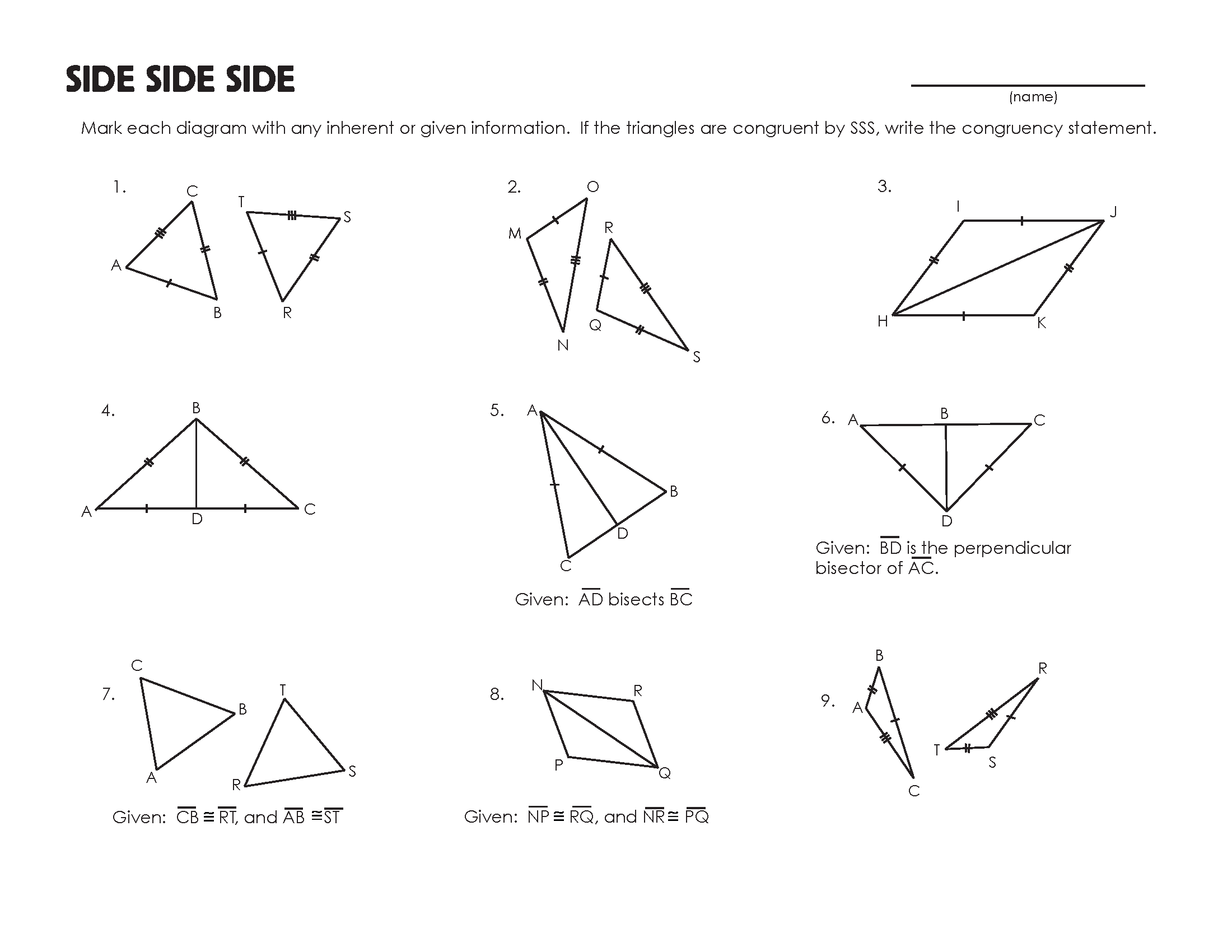 Congruent Triangles And Quadrilaterals Worksheet