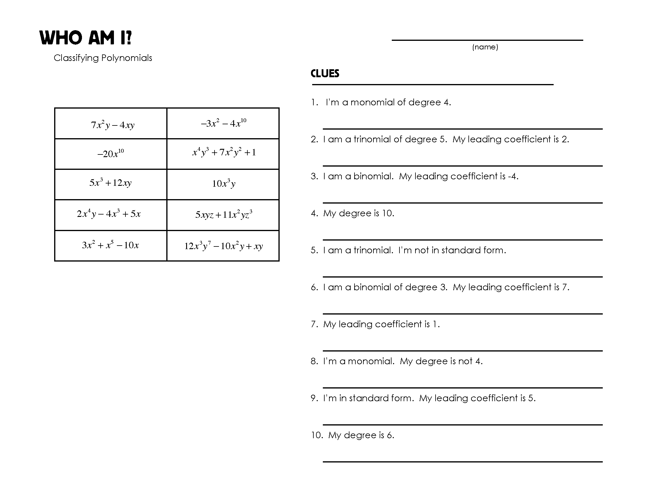 Search Results For Factoring Polynomials Worksheet Puzzle