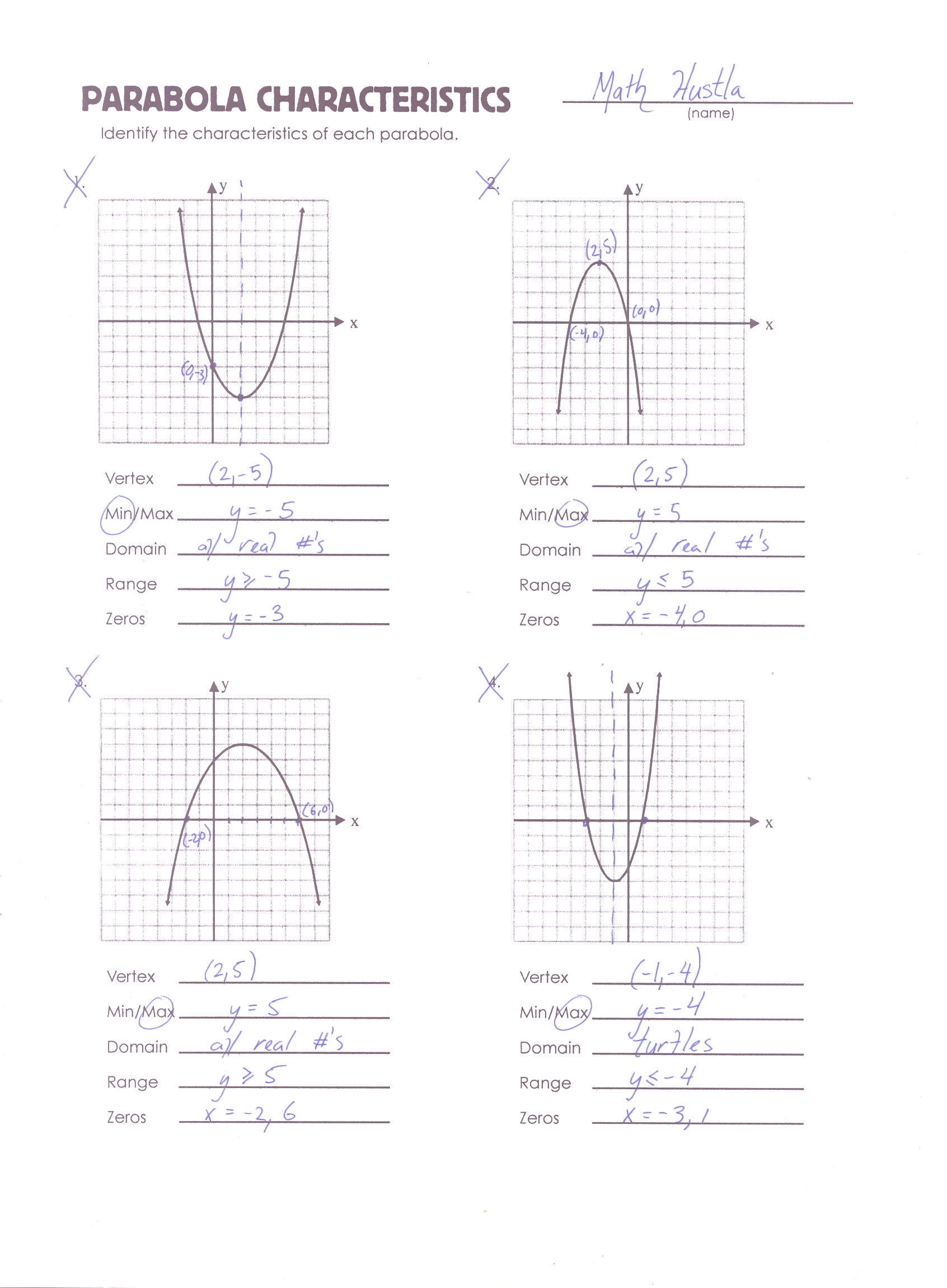 75 Algebra Review Worksheet Quadratic Functions