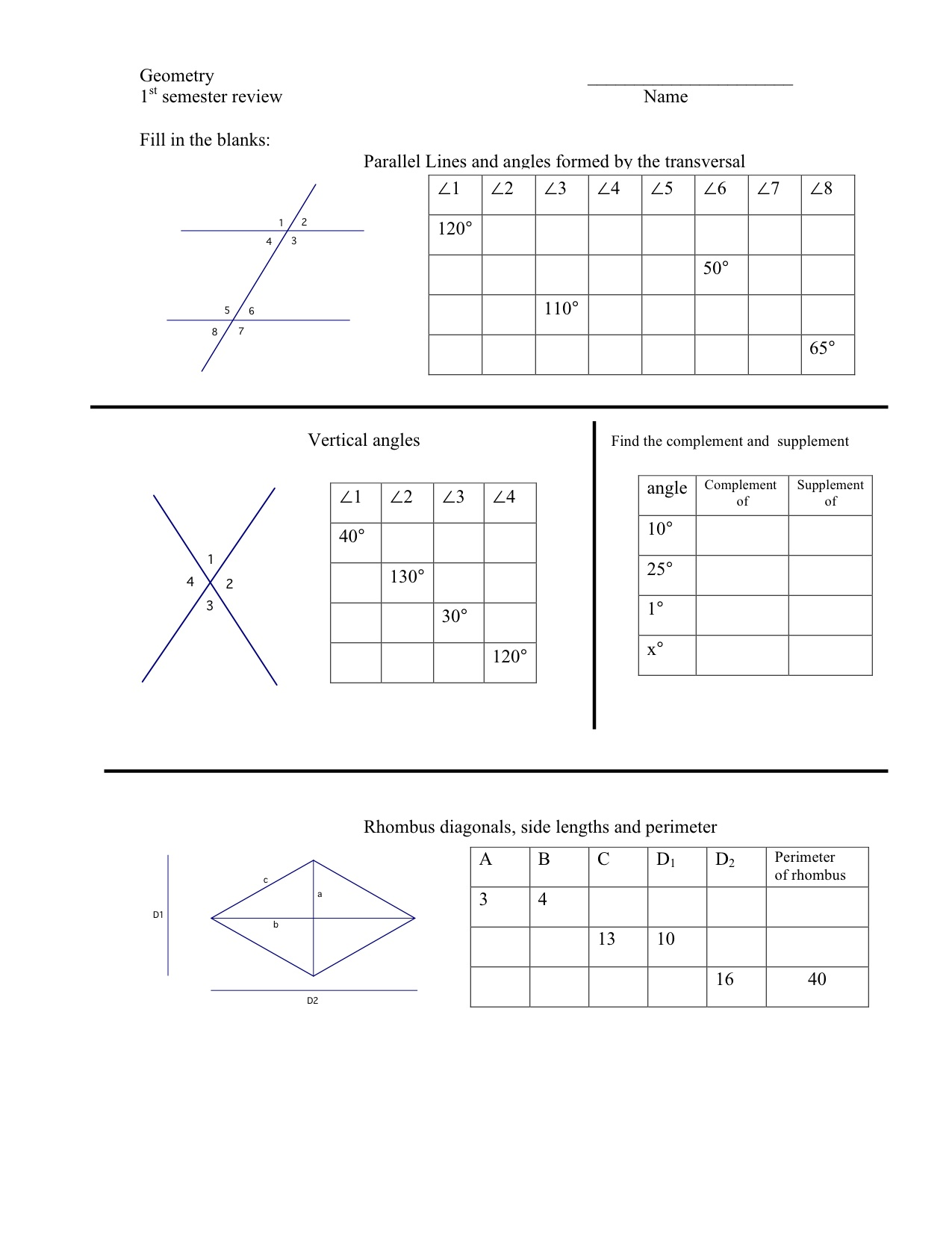Geometric Construction Worksheet