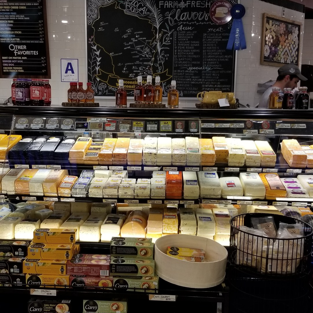 Cheese selection at Milwaukee Public Market