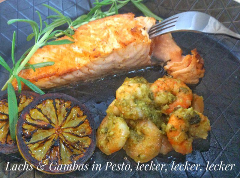 Knuspriger Lachs mit Gambas an Basilikum-Pesto