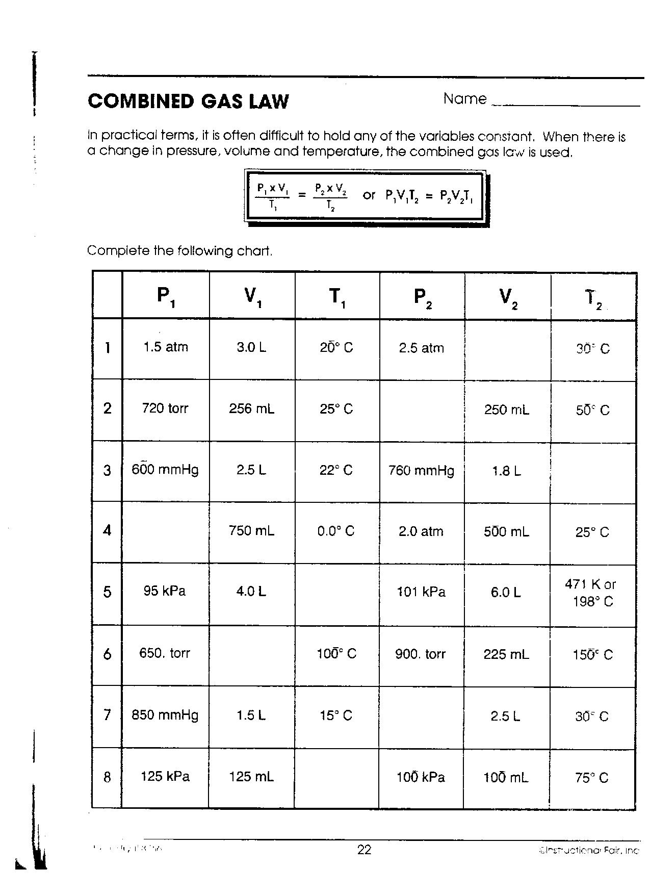 Worksheet Combined Gas Law Worksheet Answers Worksheet Fun Worksheet Study Site