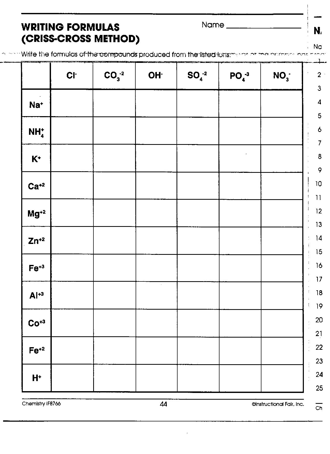 Criss Cross Worksheet