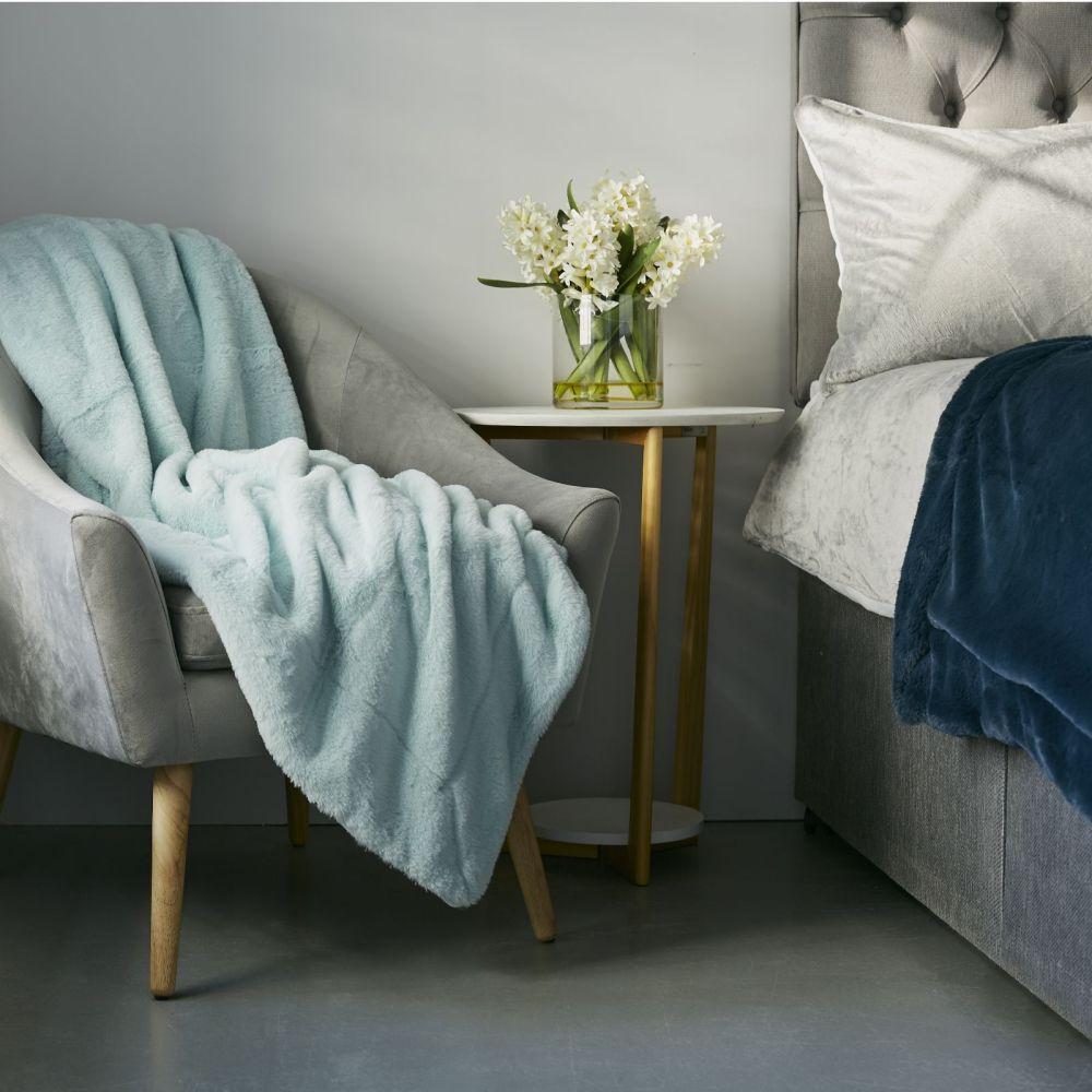 Cozee Home Set of 2 Reversible Luxury Faux Fur & Velvet Plush Throws