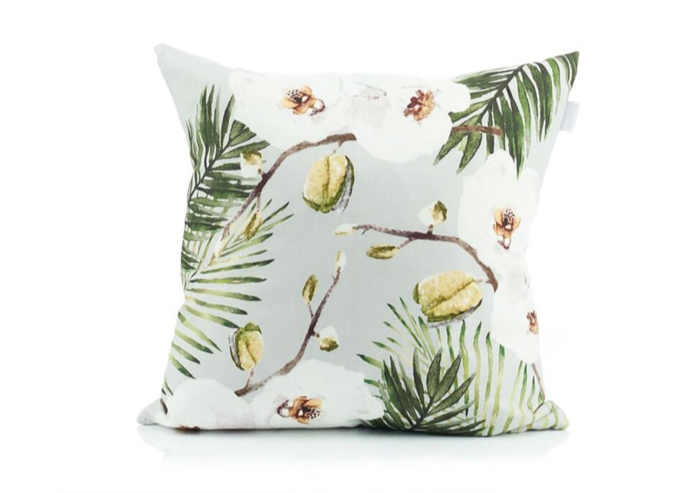 Beat the Blue Monday blues: Peony Orchid & Palm Print Cushion
