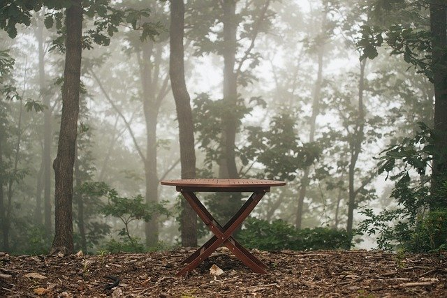 Tables with leaves underneath