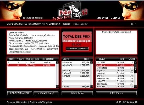 le freeroll sur Pokerface52