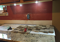 Tiles prepped for kitchen backsplash DIY