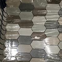Precut tiles for a kitchen backsplash DIY