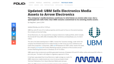 UBM's sale of assets to Arrow Electronics