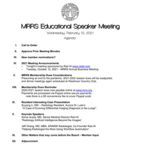 February meeting agenda