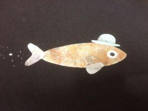 Illustration of a little orange fish wearing a blue bowler hat