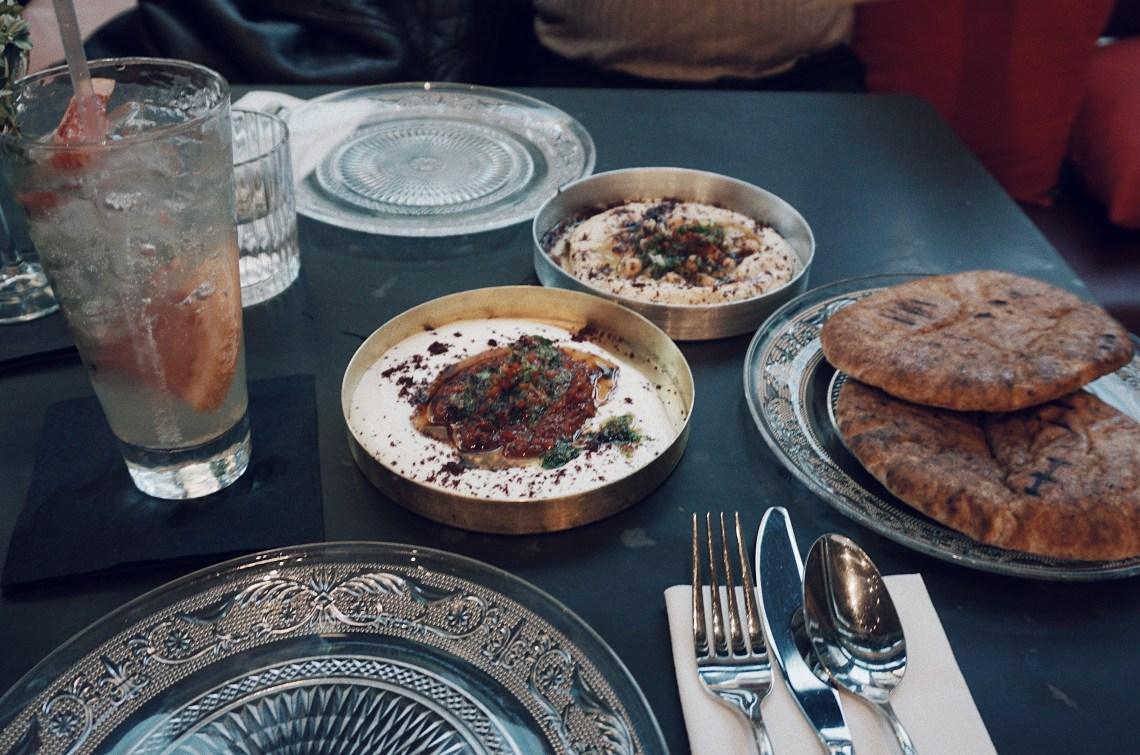 Hummus & Chickpea Salsa, Strained Yoghurt & Harissa Drizzle, Pitta Bread. BALA BAYA.