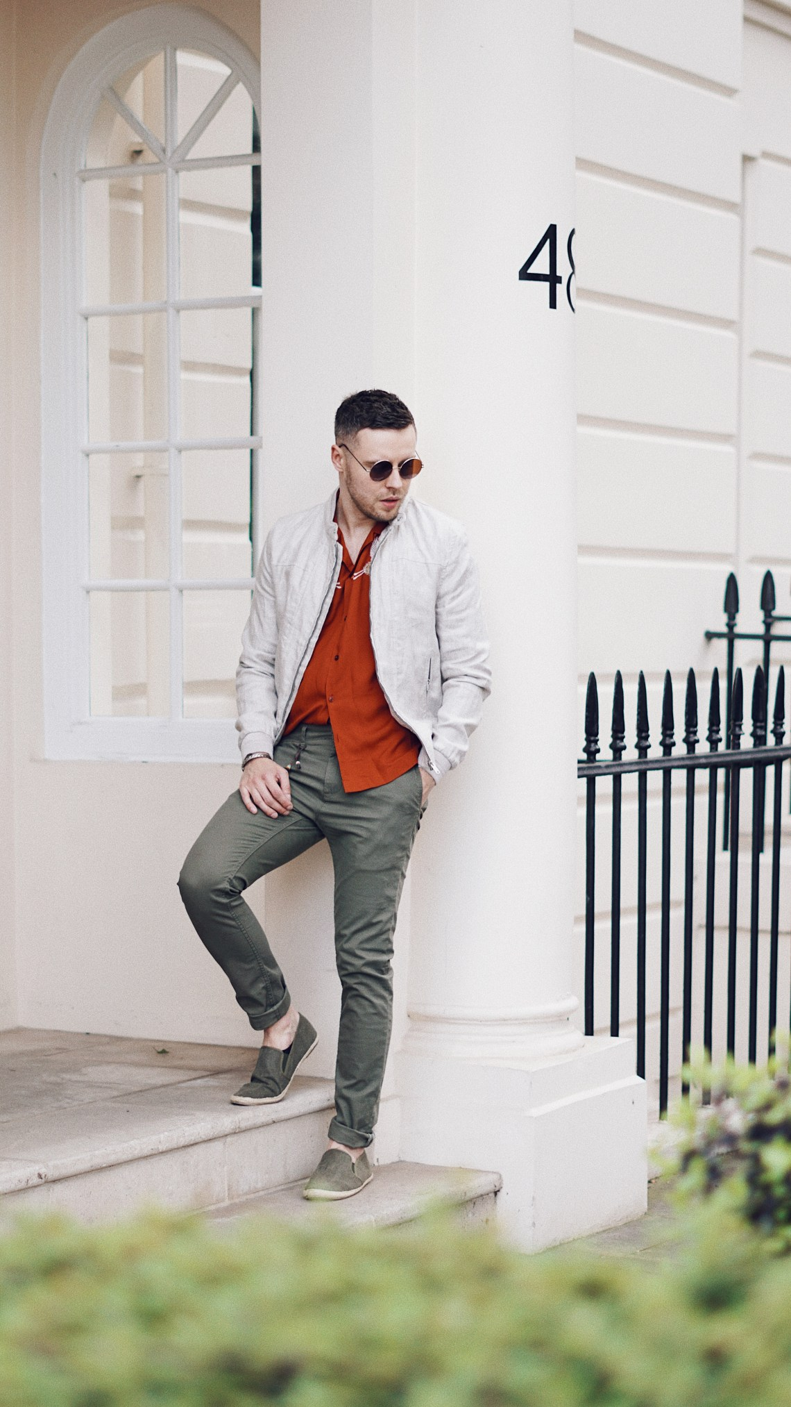 Millbank Haze. Wearing Loom Crane Vacation Shirt from Urban Outfitters, Linen Jacket from Zara, Basic Chinos from Zara and Green Slip On Shoes from Primark. / Mr. Salt and Pepper blog by Skirmantas Petraitis