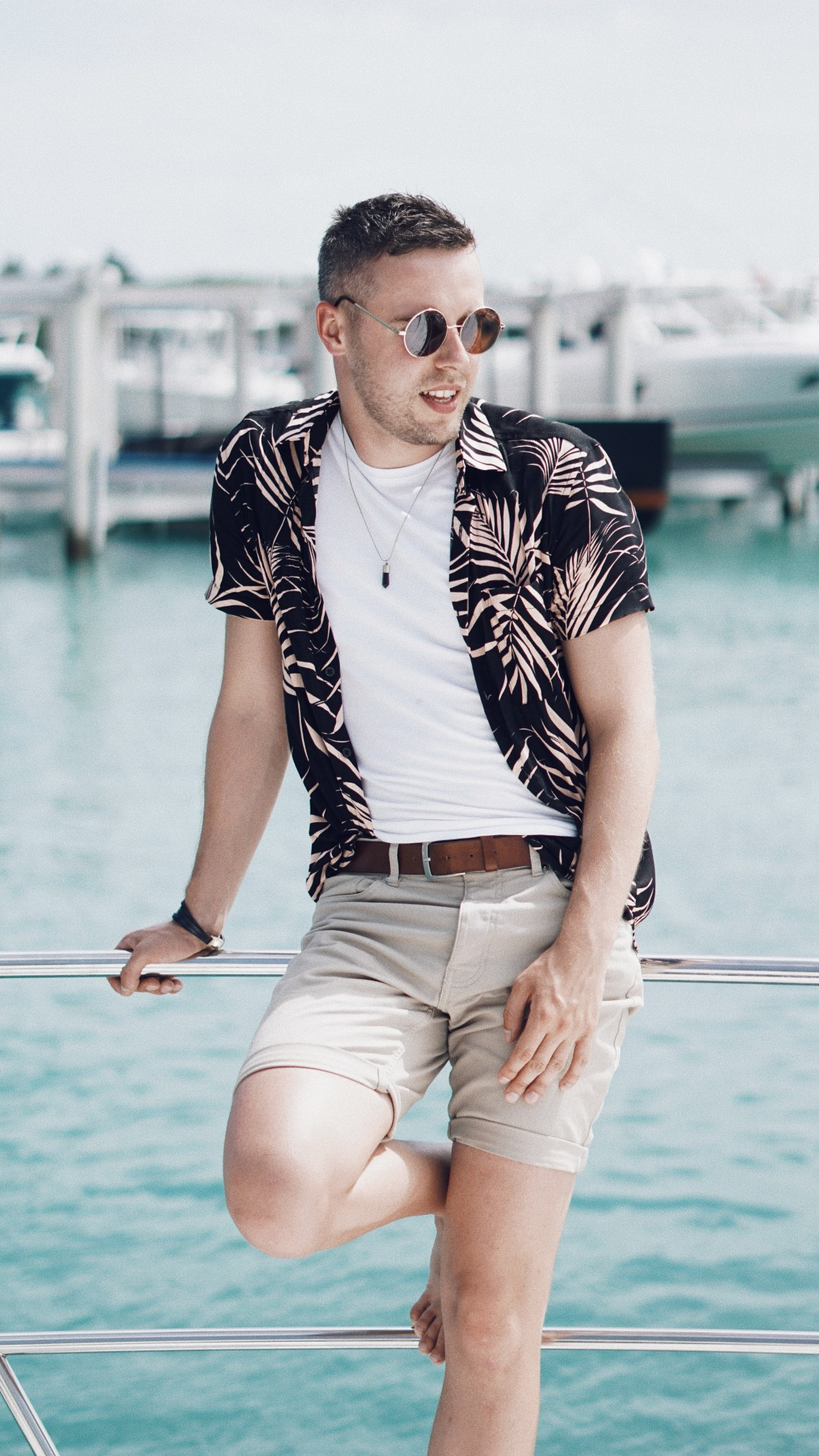 Miami Vice. Wearing Pink Floral Viscose Print Shirt from Primark, Basic White T-shirt from Zara, Chino Shorts from H&M and Accesories from Topman. Blog by Skirmantas Petraitis