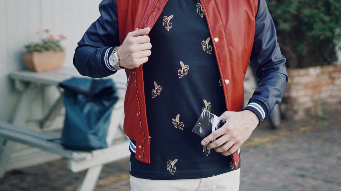 St Lukes Mews in Notting Hill. Snap Case from Case Station (The Blackest by MU Studio). Wearing KRONABY Sweden Sekel Watch, Zara College Bomber Jacket and Printed Top in Navy Blue, Primark Stone Twill Stretch Skinny Trouser. Snapped by Ed Lemon from The Discerning Man. Blog by Skirmantas Petraitis