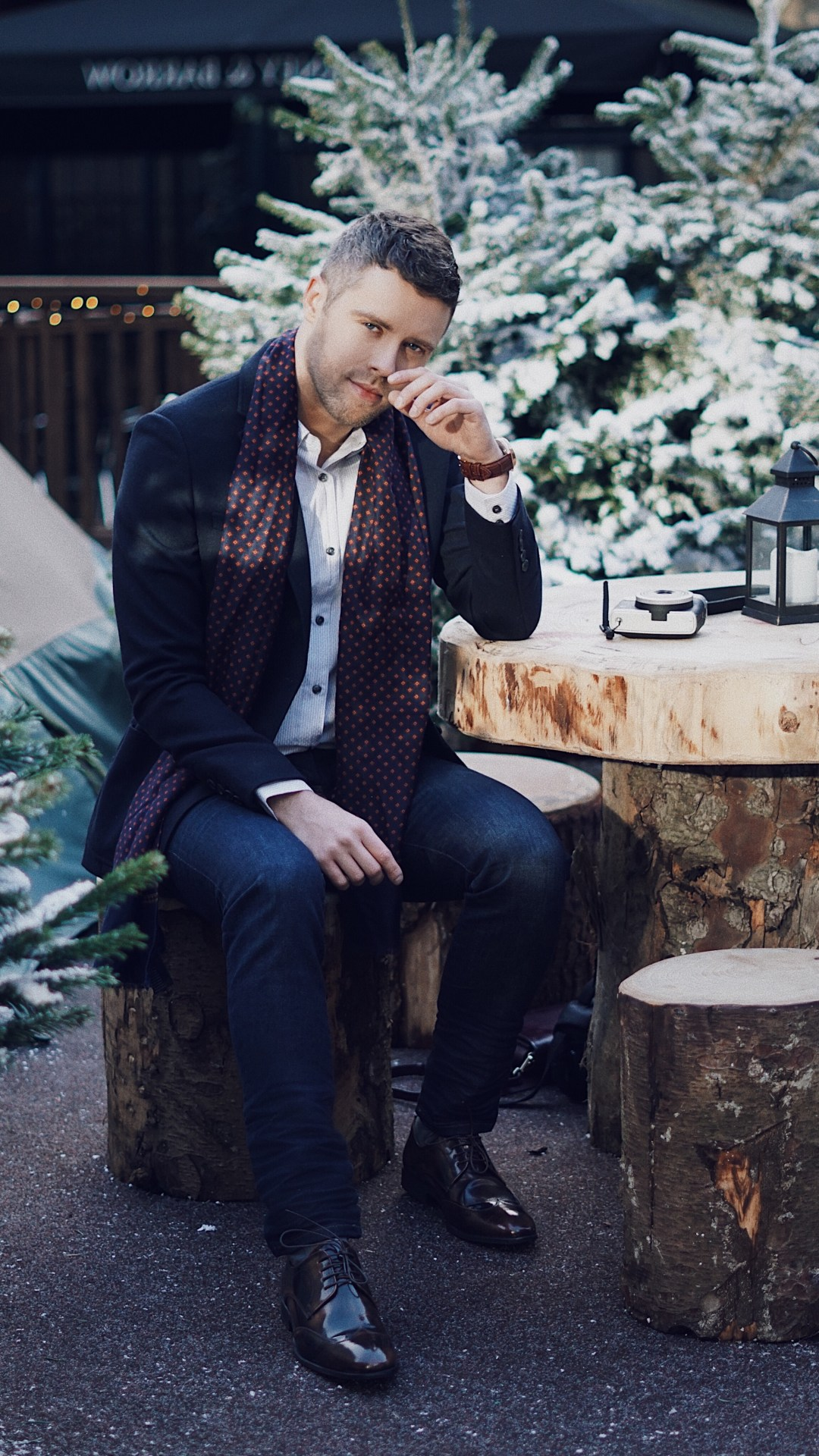 The Winter Forest at Broadgate. Wearing a navy textured single breasted wool blend jacket from J by Jasper Conran, navy geometric print dress scarf from Hammond & Co. by Patrick Grant, white striped print tailored fit shirt from The Collection, dark blue 'Bryson' skinny jeans from Wrangle, brown patent leather Derby shoes from Red Herring and Sekel Role Gold Watch With Silver Dial and Brown Leather Strap from Kronaby Sweden. Blog by Skirmantas Petraitis.