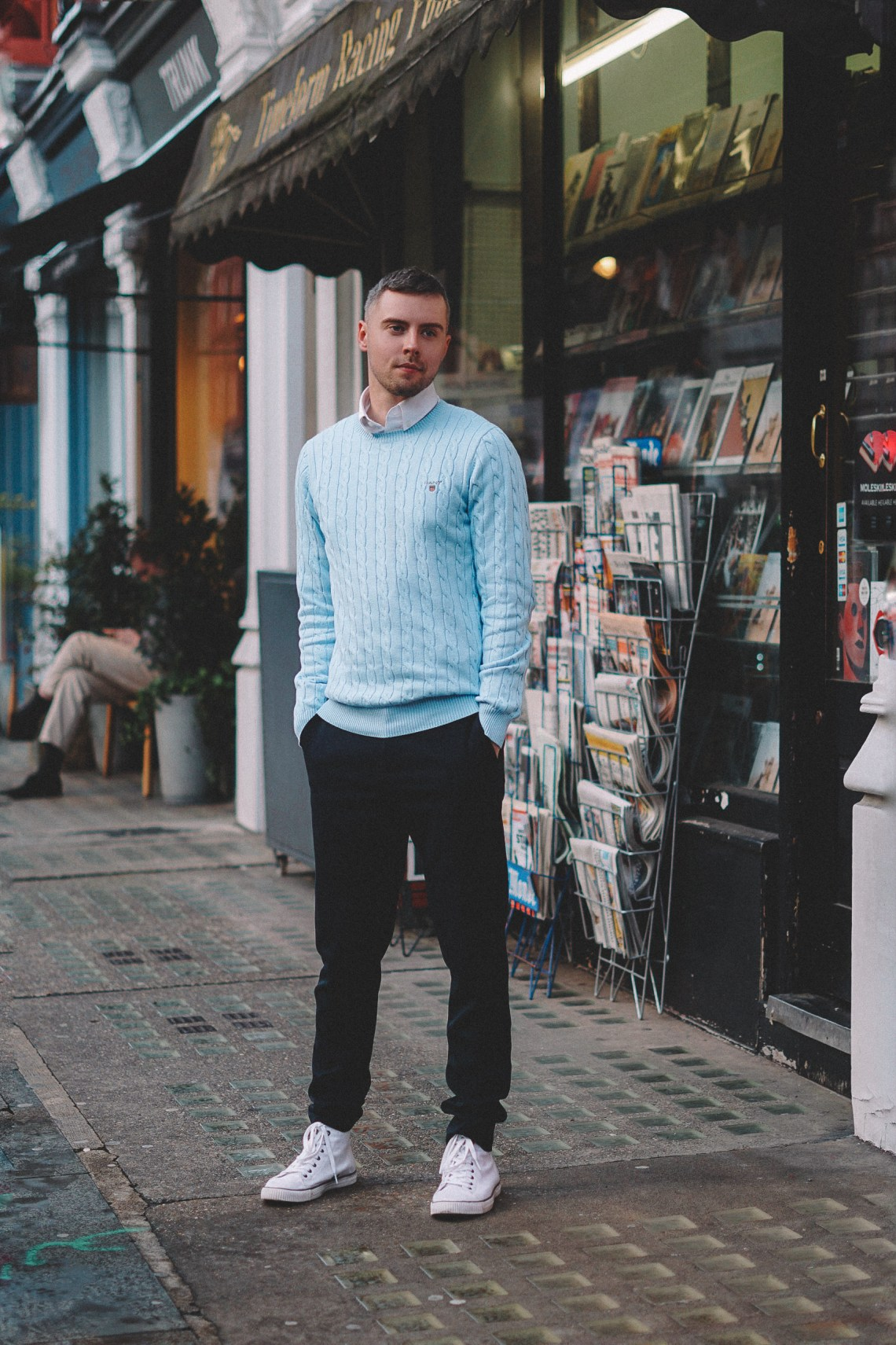 Wearing GANT Cotton Cable Crew Sweater in Light Blue Melange and Regular Fit Pinpoint Oxford Shirt in White. Blog by Skirmantas Petraitis.