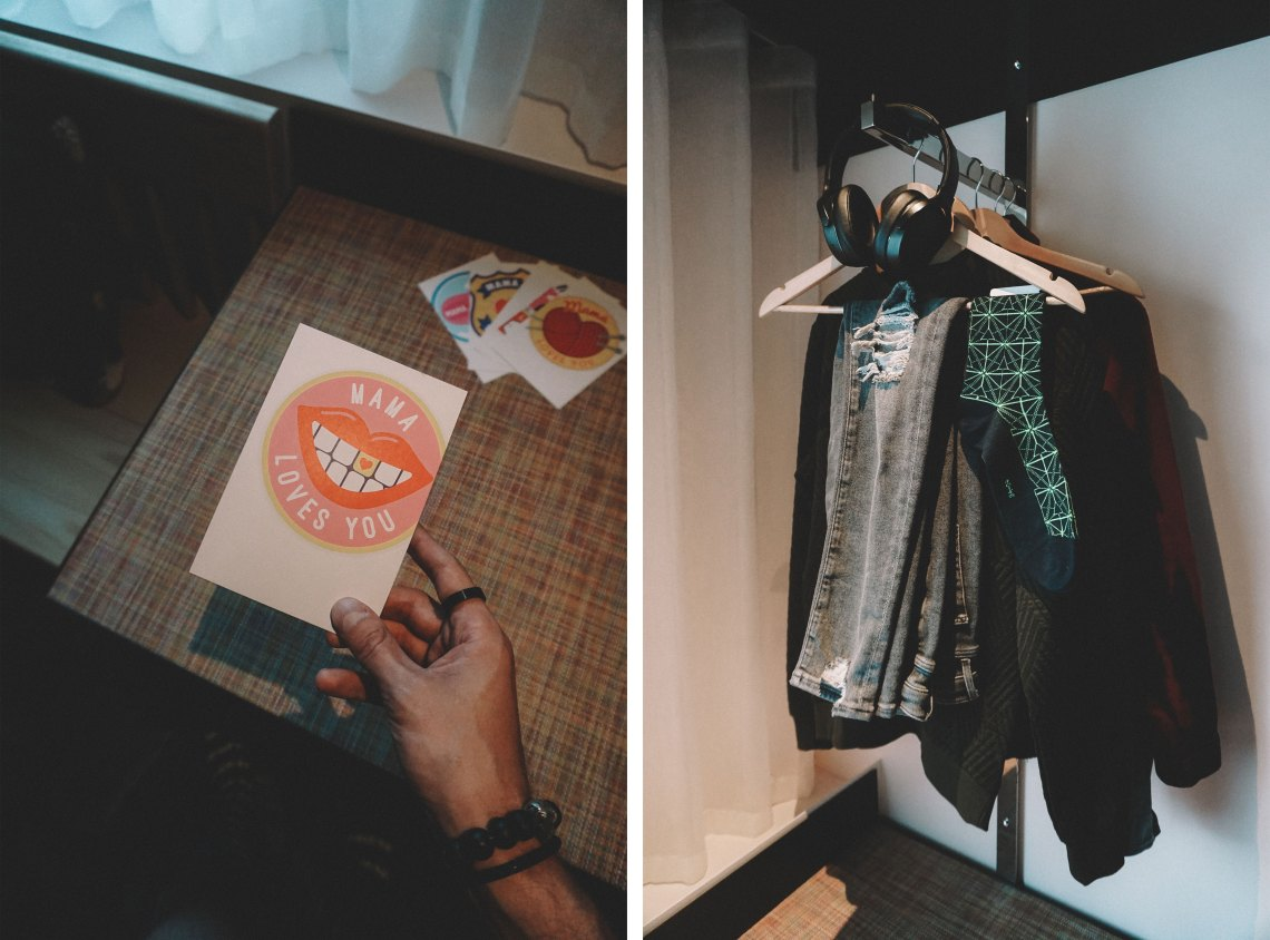 Suite (postcards and clothes rack) at Mama Shelter London. Blog by Skirmantas Petraitis.