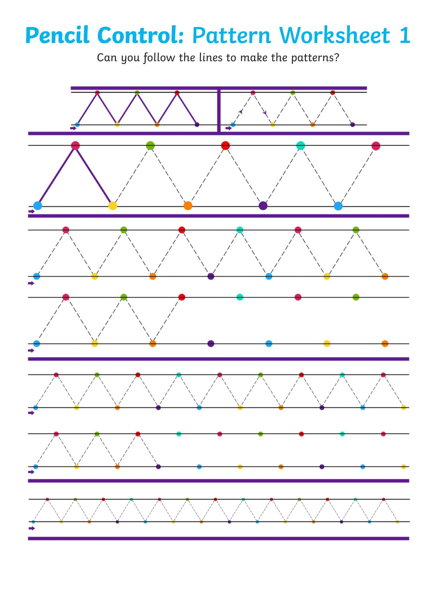 Pencil Control Pattern Worksheet For Children