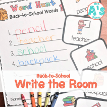 Back to School Word Hunt/Write the Room for Preschool, Pre-K, and Kindergarten