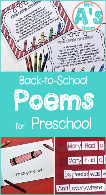 Back to School Poems for Preschool