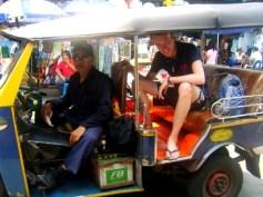 Taking a tuk tuk in Bangkok, Thailand