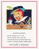 Vintage 1930's children's book illustration Humpty Dumpty image