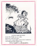 Vintage 1930's children's book illustration Little Miss Muffet image