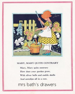 Vintage 1930's children's book illustration Mary Mary Quite Contrary image