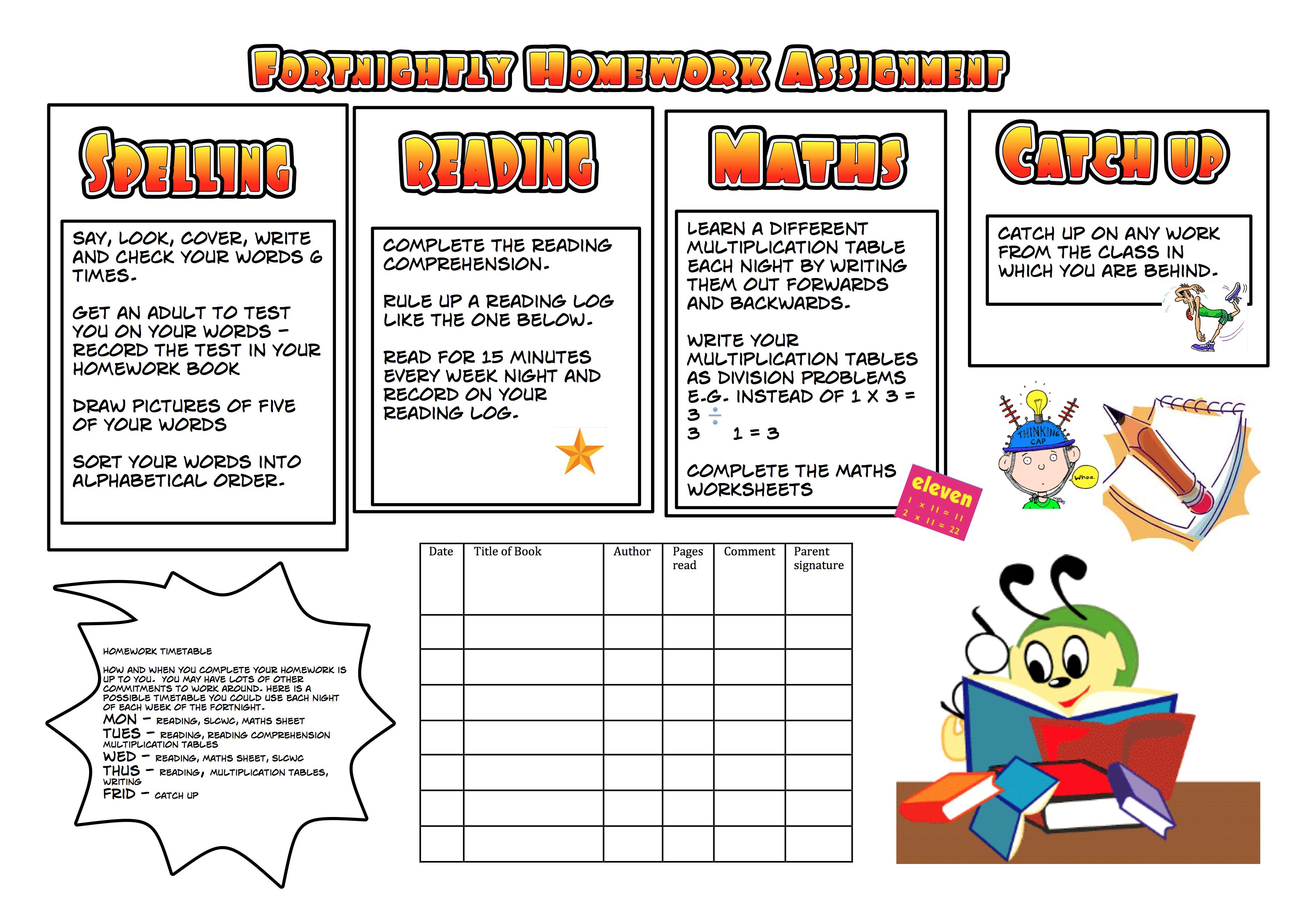 School Homework Sheets