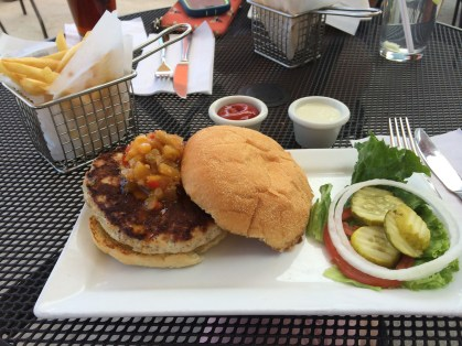 I had an amazing meal at Five Star Burgers...peach and sage chutney on a turkey burger served with fries and green chili mayo. Delicious.