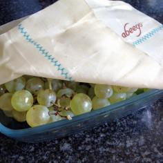 Medium Abeego wrap as a lid over a glass dish of grapes